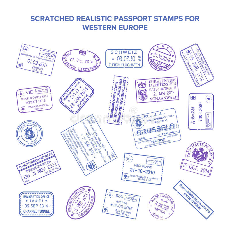 Scratched vector visa travel stamps isolated on white stock illustration