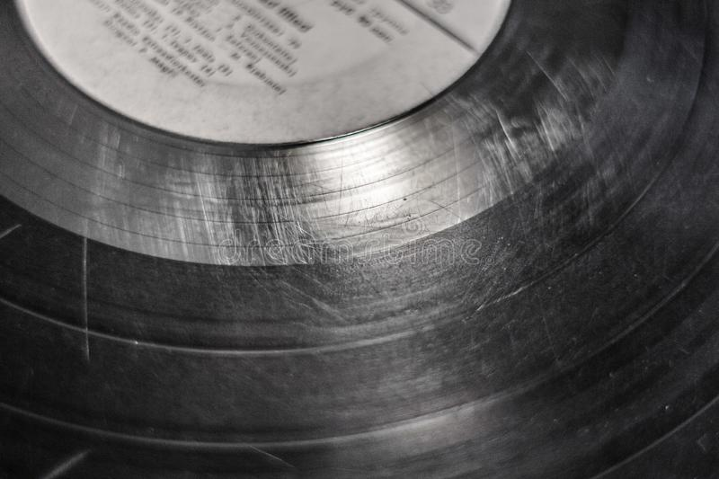 Scratches on the old vinyl record royalty free stock image
