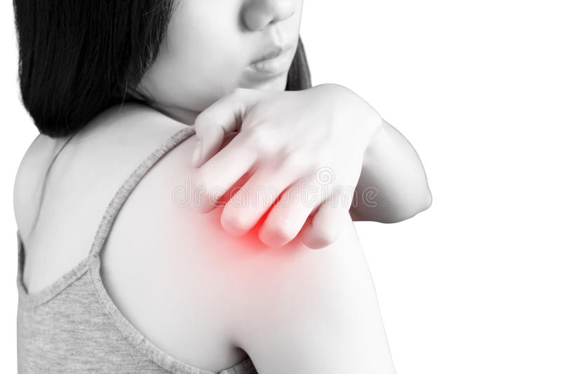 Scratching her arm or shoulder in a woman isolated on white background. Clipping path on white background. Scratching her arm or shoulder in a woman isolated on royalty free stock images