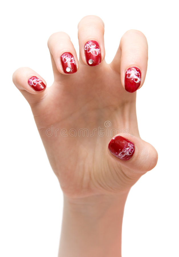 Scratching woman hand royalty free stock photo