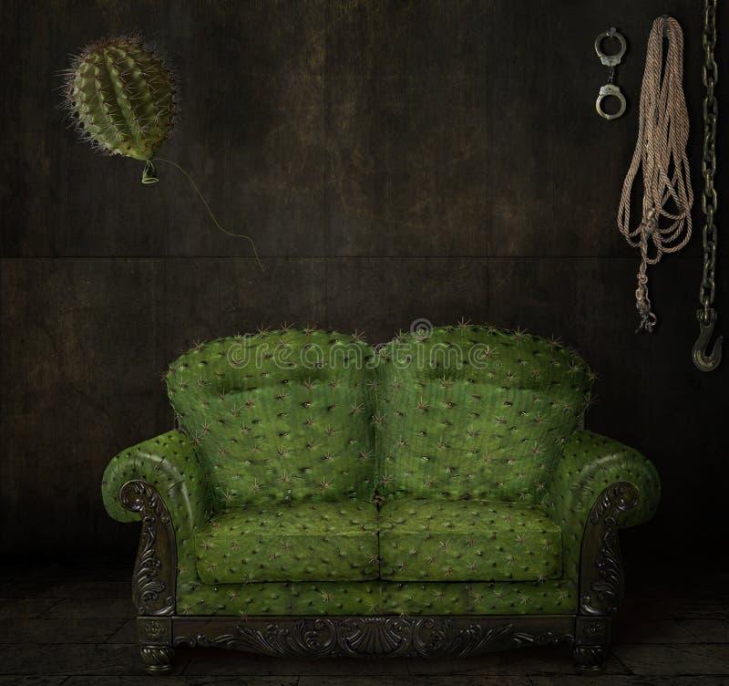 Scratchy καναπές στοκ εικόνες