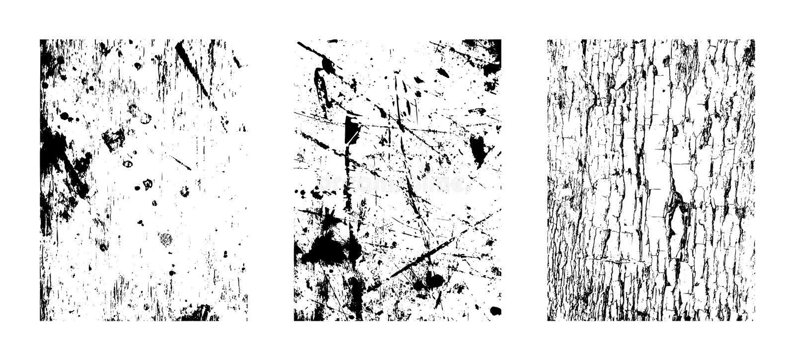 Scratchy Textures, Abstract Grunge Backdrops. Vector clipart illustrations isolated on white background. vector illustration