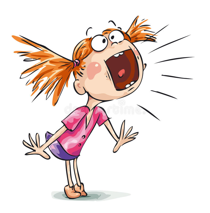 Scream. A little girl with very loud voice royalty free illustration