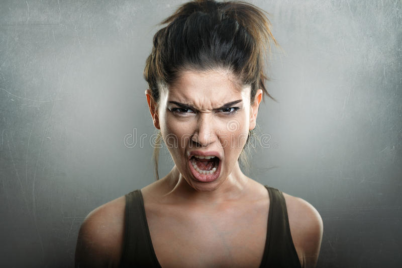 Scream of angry upset woman royalty free stock photos