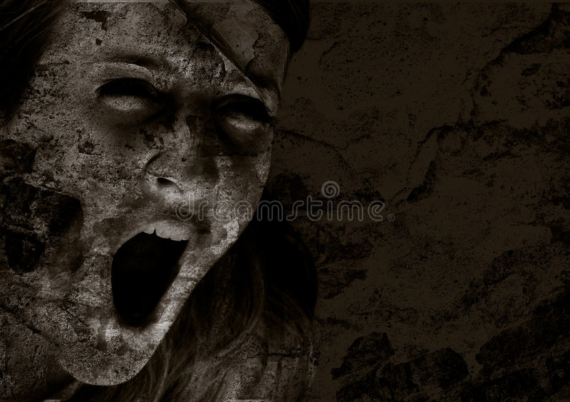 Scream of horror. Horror version stock photo