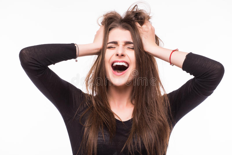 Scream young girl royalty free stock images