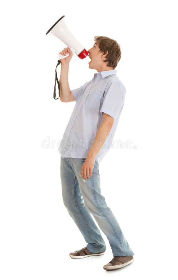 Download Screamimg Young Man Holding Megaphone Stock Photo - Image: 21701194