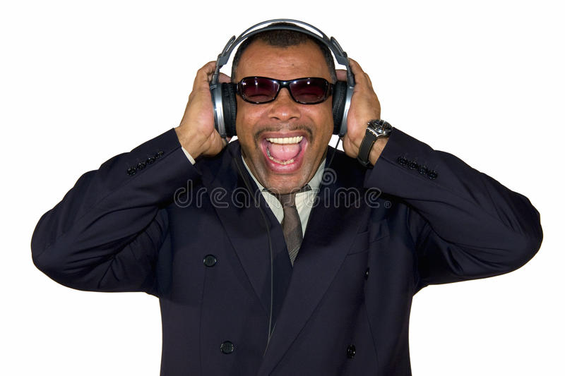 Download A Screaming African-American Man With Headphones Stock Image - Image: 13129775