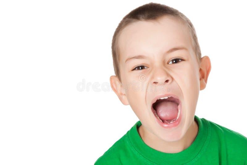 Screaming boy stock photo