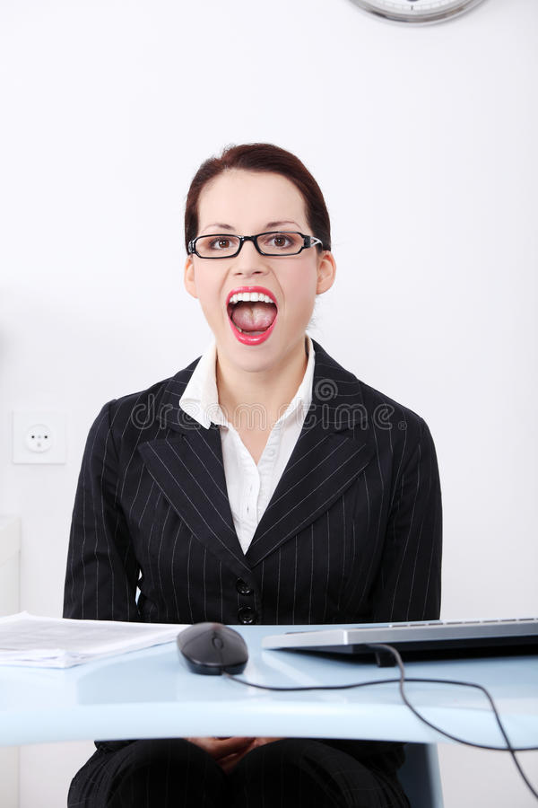 Download Screaming businesswoman. stock photo. Image of mouth - 21992776