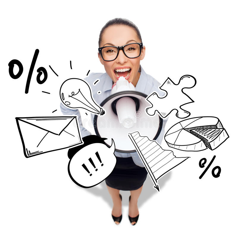 Screaming businesswoman with megaphone. Business and office concept - screaming businesswoman in eyeglasses with megaphone royalty free stock images