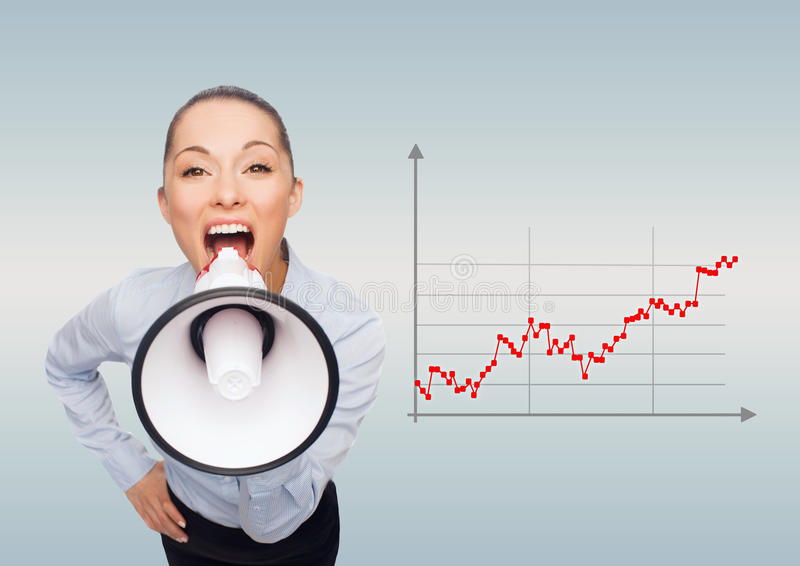 Screaming businesswoman with megaphone royalty free illustration