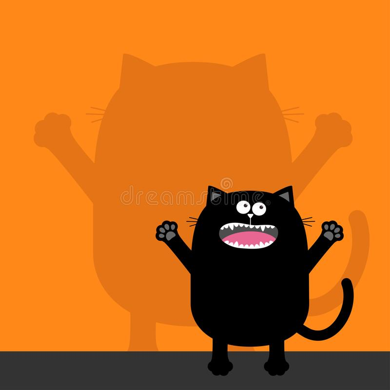 Free Screaming Cat Silhouette Looking Up. Wall Shadow Shade. Two Eyes, Teeth, Tongue, Spooky Hands. Black Funny Cute Cartoon Baby Chara Stock Photos - 108443623