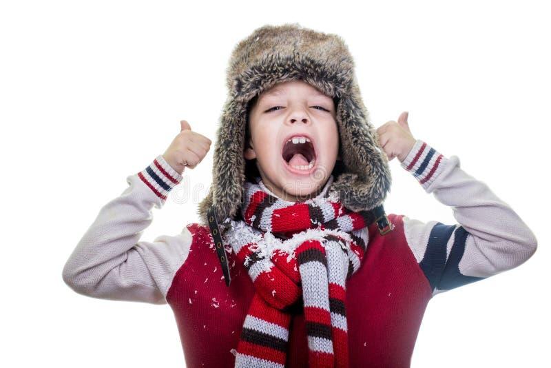 Screaming Cute Boy, Announsing Stock Photos