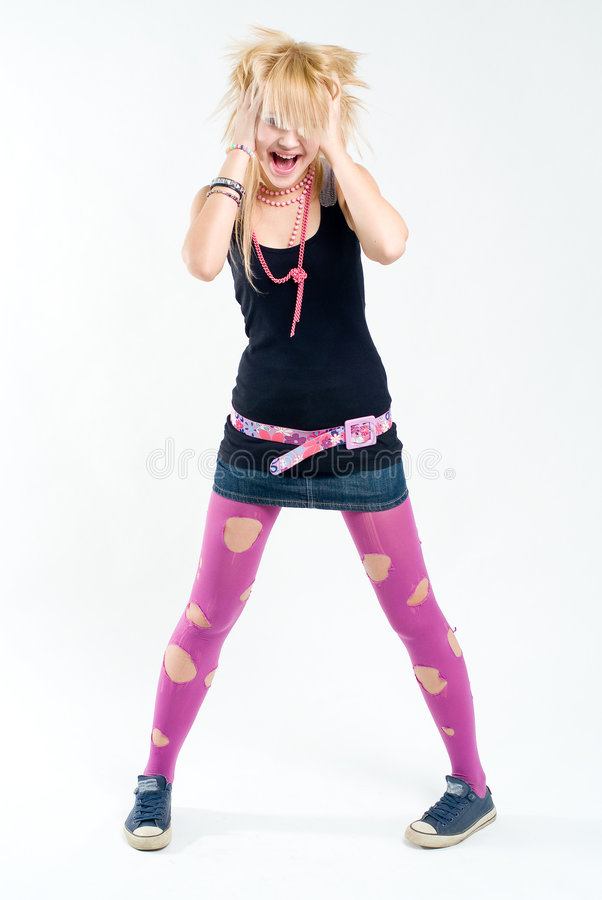 Download Screaming emo girl stock image. Image of happy, freak - 8055515