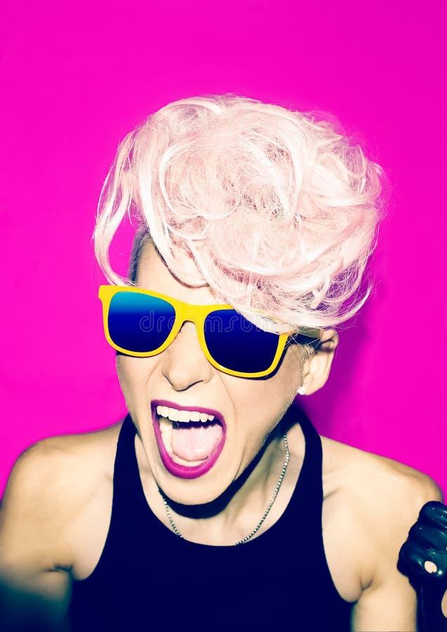Screaming girl disco punk fashion style stock image