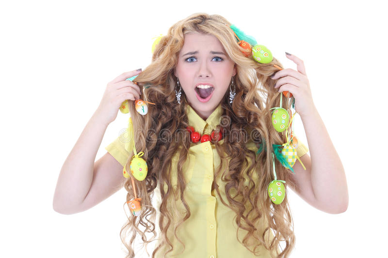 Download Screaming Girl With Easter Eggs In Her Hair Stock Photo - Image: 29098884
