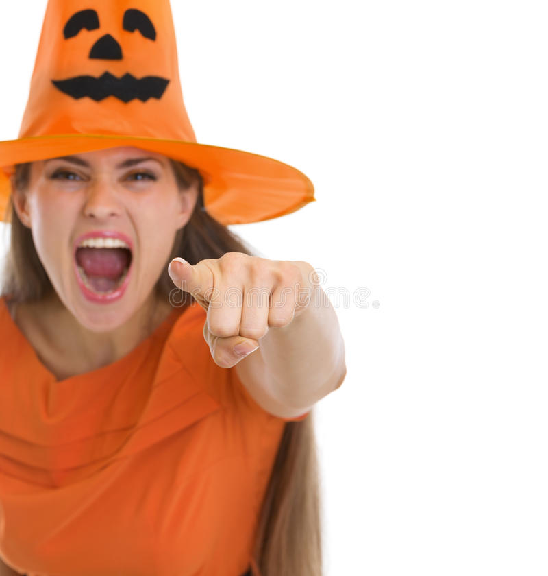 Download Screaming Girl In Halloween Hat Pointing In Camera Stock Image - Image of background, orange: 27104543