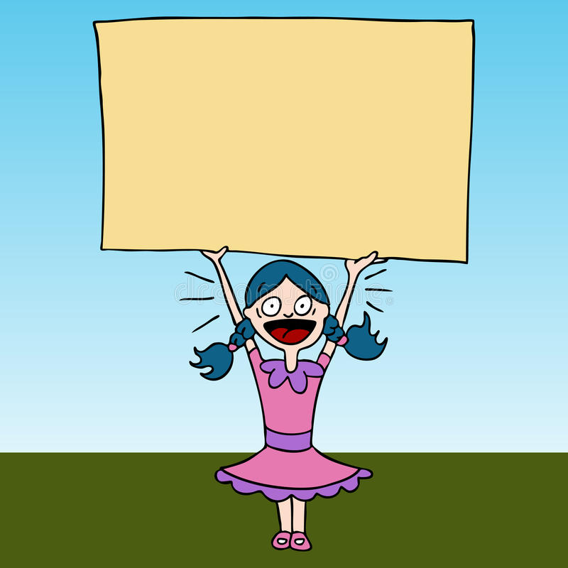 Download Screaming Girl Holding Sign Stock Vector - Image: 16280626