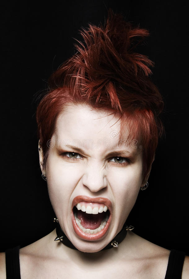 Screaming girl punk stock images