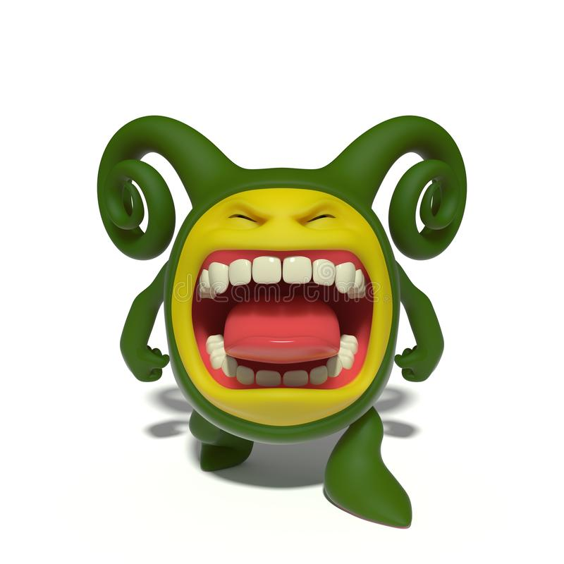 Screaming green monster. 3d image. The funniest character on an isolated white background vector illustration