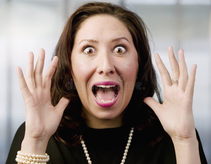 Screaming Hispanic Woman stock image