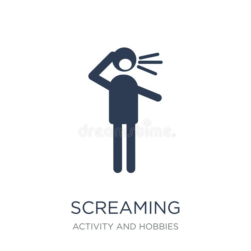 Screaming icon. Trendy flat vector Screaming icon on white background from Activity and Hobbies collection vector illustration