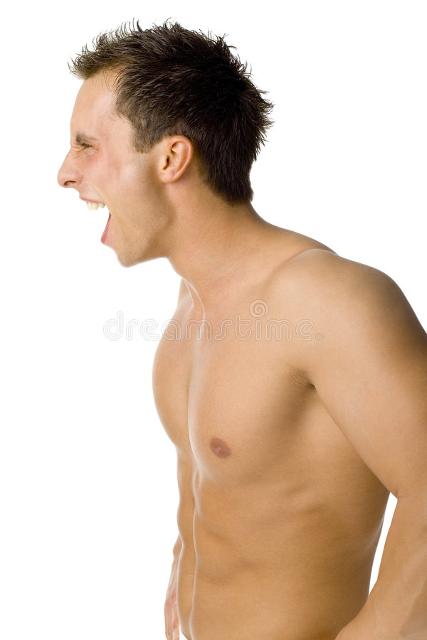 Screaming Man - Side Body View. Royalty Free Stock Photo