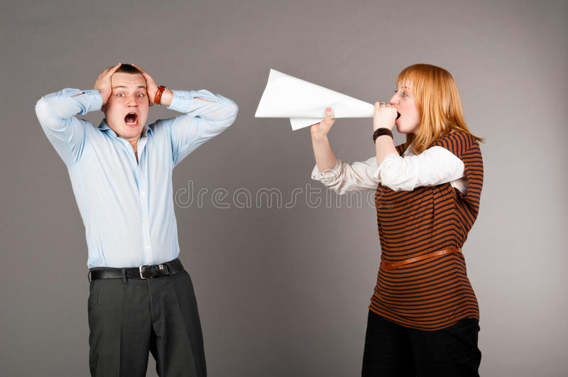 Download Screaming with megafon stock photo. Image of female, hair - 21373378