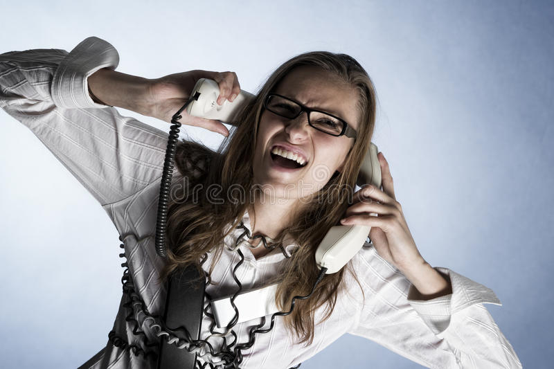 Download Screaming phone operator. stock photo. Image of centre - 19315014