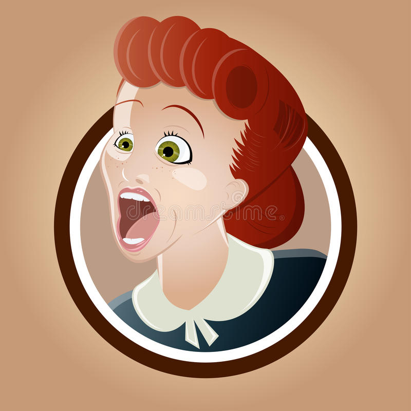 Screaming retro woman royalty free illustration