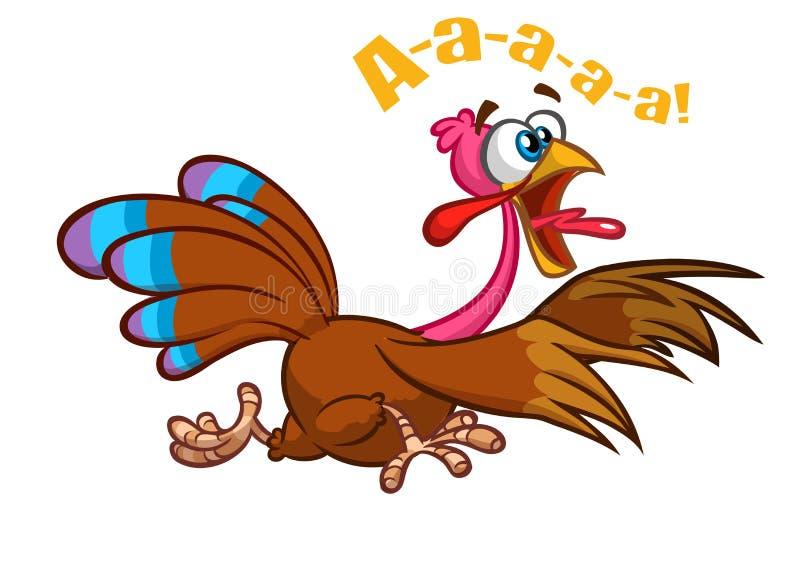 Screaming running cartoon turkey bird character. Vector illustration.  royalty free illustration