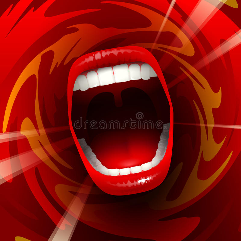 Screaming singing Mouth. Open mouth with teeth; Screaming shouting singing yawning mouth; Jaw drop; Vector background Eps10; The angle is 10 vector illustration