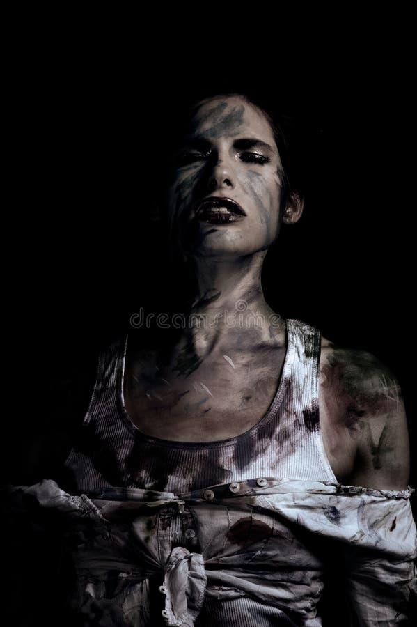 Screaming soul. Conceptual image woman soul struggling stock photos