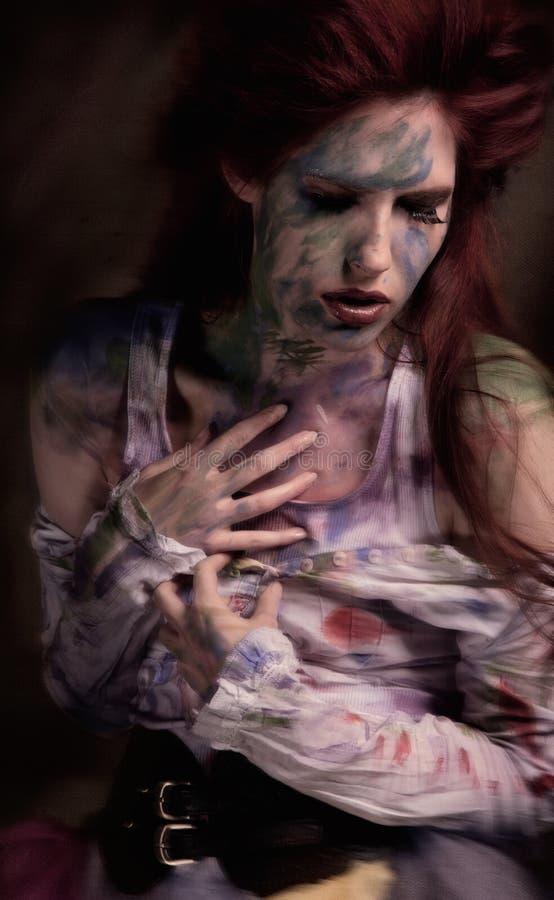 Screaming soul. Conceptual image woman soul struggling stock image