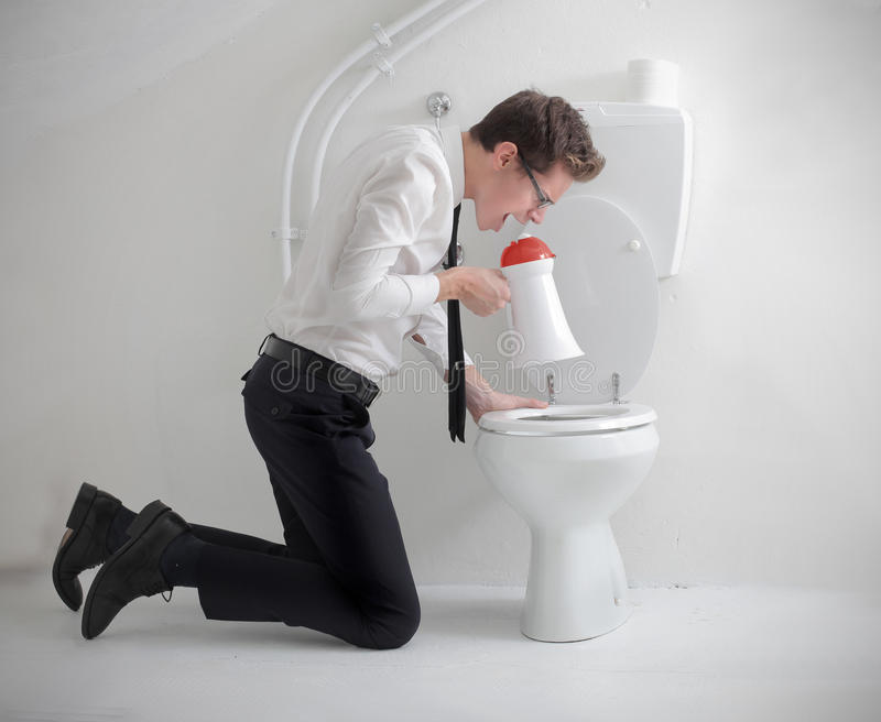 Download Screaming into the Toilet stock image. Image of speaker - 27777805