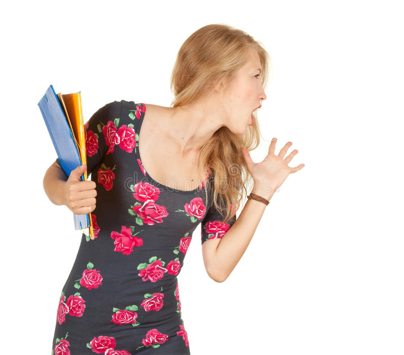 Download Screaming University Student Girl With Books Stock Photo - Image: 21560942