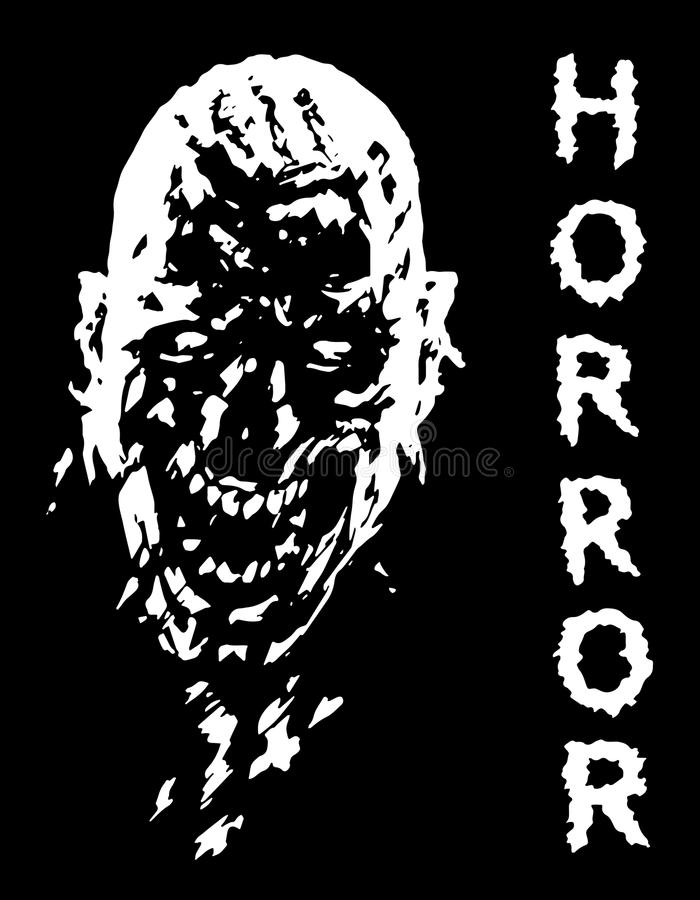 Screaming vampire head in black and white colors. Vector illustration. The horror genre stock illustration