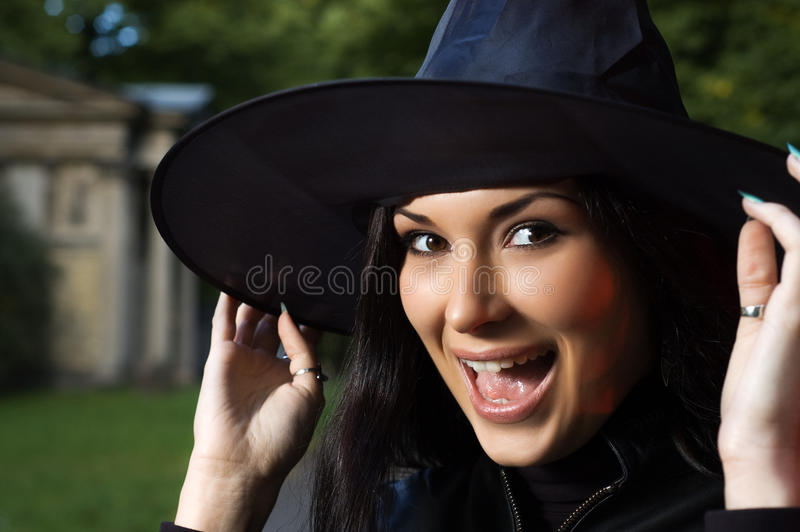 Download Screaming witch in hat stock photo. Image of magician - 12630124