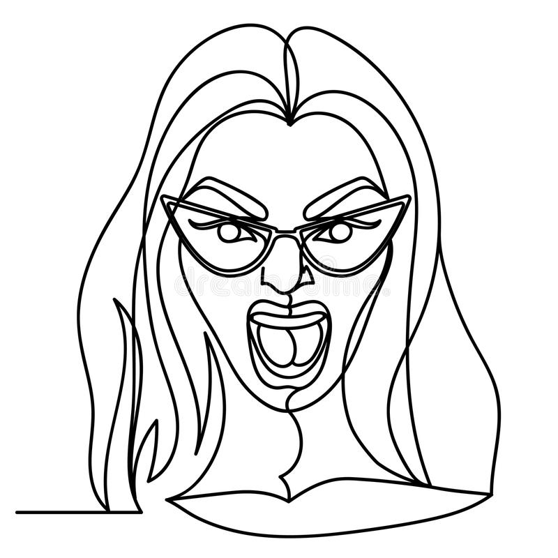 Screaming Woman in Eyeglasses One Line Art Portrait. Unhappy Female Facial Expression Hand Drawn Linear Woman Silhouette royalty free illustration