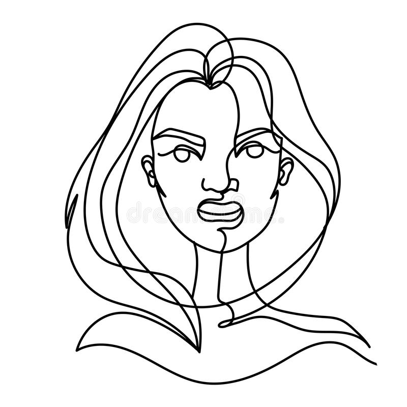 Screaming Woman One Line Art Portrait. Angry Female Facial Expression. Hand Drawn Linear Woman Silhouette stock illustration