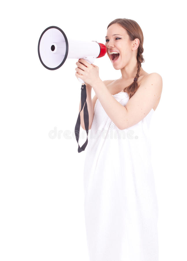 Screaming Woman In White Towel Stock Photography