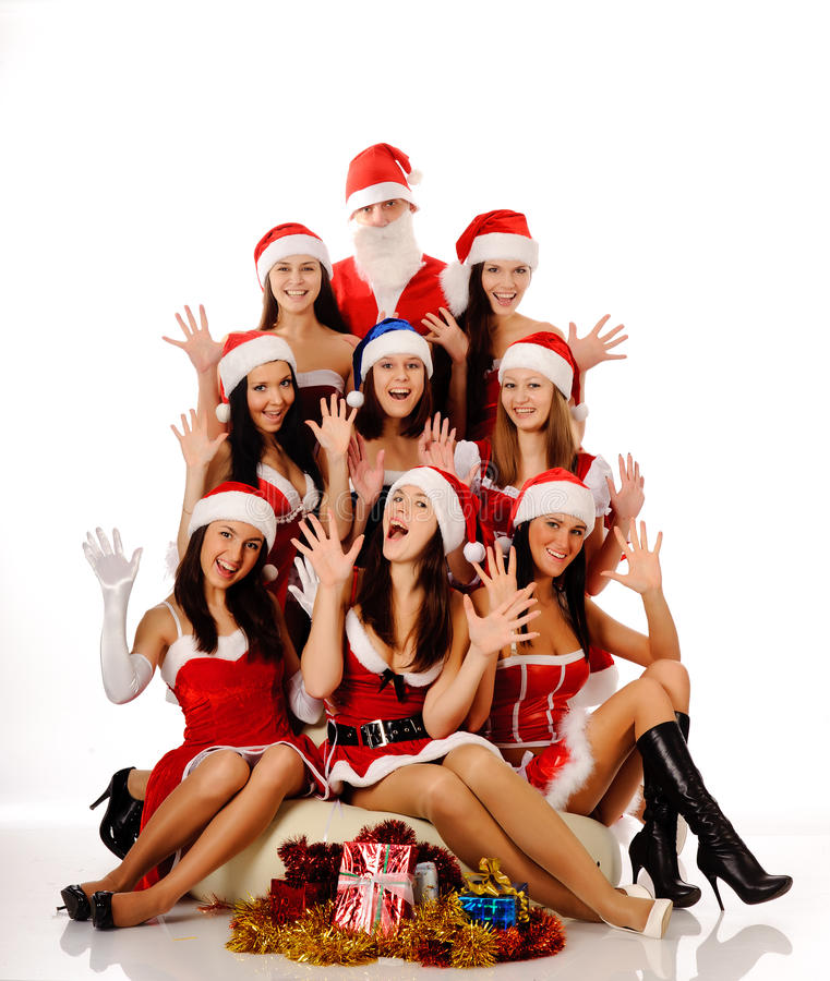 Download Screaming Women And Santa Claus Stock Image - Image of december, hands: 17062939