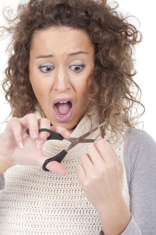 Download Screaming Young Girl Trying To Cut Her Hair Stock Photo - Image: 17147618