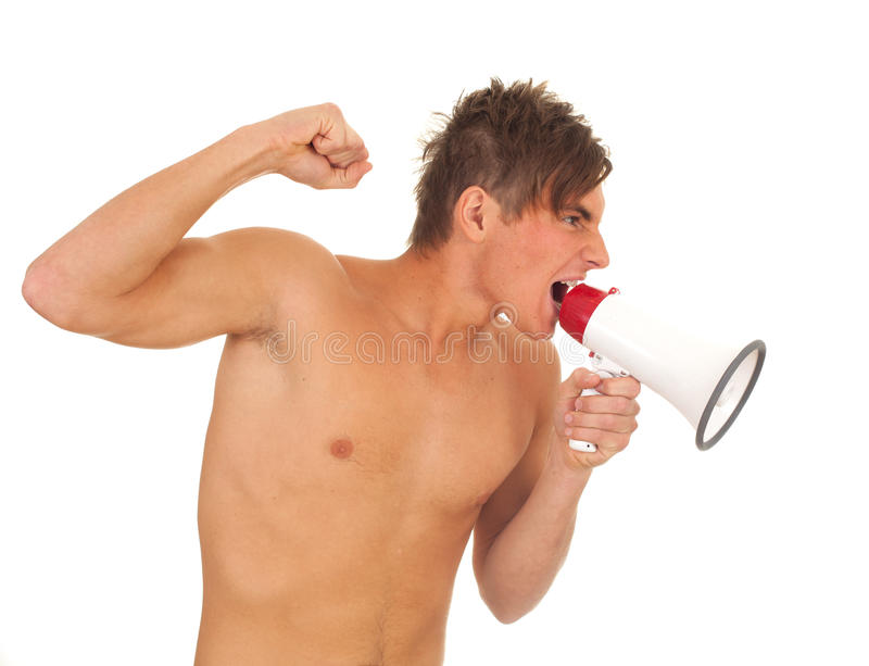 Download Screaming Young Man With Megaphone Stock Photo - Image of people, naked: 16753246