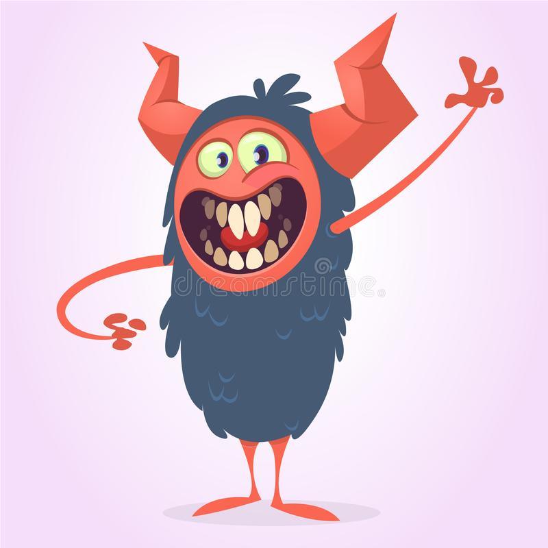 Screanimg enojado del monstruo del negro de la historieta Griterío de la expresión enojada del monstruo ilustración del vector