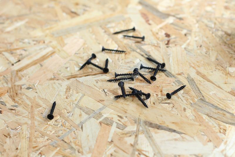 Screed screws on osb plywood. Drilling, smooth, sharp, top, screwdriver, diy, work, natural, building, wall, professional, safety, protection, abstract, brown stock photography