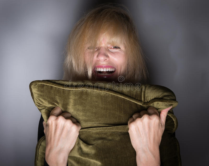 Screeming Moment of Fear stock photos