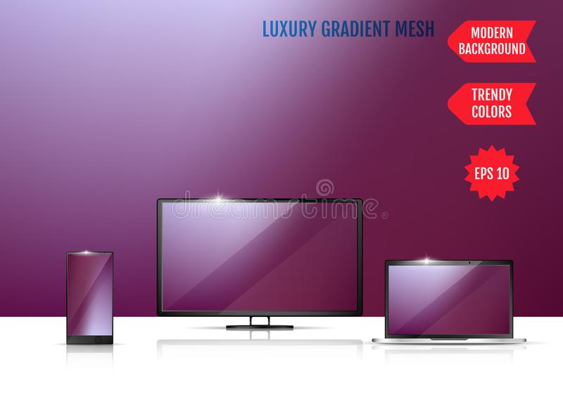Screen background vector gradient design for mobile app. An example of the use of the proposed background on the screen of a. Laptop, smartphone and TV stock illustration