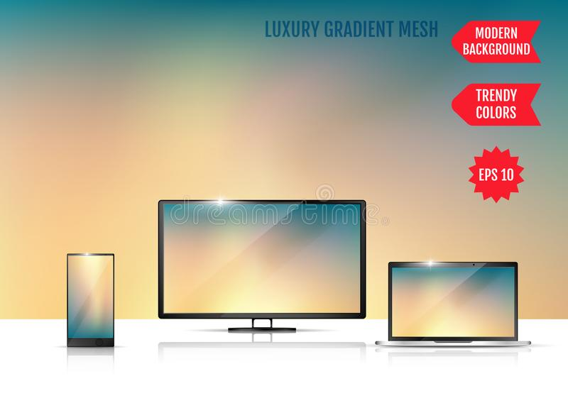 Screen background vector gradient design for mobile app. An example of the use of the proposed background on the screen of a. Laptop, smartphone and TV vector illustration